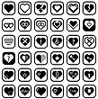 Set Of Heart Icons Isolated On White Background stock vector