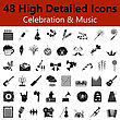 Set Of High Detailed Celebration And Music Smooth Icons In Black Colors. Suitable For All Kind Of Design (Web Page, Interface, Advertising, Polygraph And Other). Vector Illustration