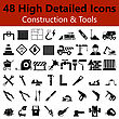 Excavator Set Of High Detailed Construction And Tools Smooth Icons In Black Colors. Suitable For All Kind Of Design (Web Page, Interface, Advertising, Polygraph And Other). Vector Illustration stock vector