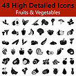 Set Of High Detailed Fruits And Vegetables Smooth Icons In Black Colors. Suitable For All Kind Of Design (Web Page, Interface, Advertising, Polygraph And Other). Vector Illustration