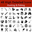 Set Of High Detailed Hunting And Fishing Smooth Icons In Black Colors. Suitable For All Kind Of Design (Web Page, Interface, Advertising, Polygraph And Other). Vector Illustration