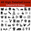 Set Of High Detailed Industrial And Ecology Smooth Icons In Black Colors. Suitable For All Kind Of Design (Web Page, Interface, Advertising, Polygraph And Other). Vector Illustration