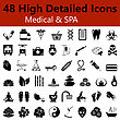 Set Of High Detailed Medical And SPA Smooth Icons In Black Colors. Suitable For All Kind Of Design (Web Page, Interface, Advertising, Polygraph And Other). Vector Illustration stock vector
