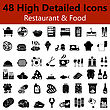 Set Of High Detailed Restaurant And Food Smooth Icons In Black Colors. Suitable For All Kind Of Design (Web Page, Interface, Advertising, Polygraph And Other). Vector Illustration