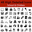 Set Of High Detailed School And Children Smooth Icons In Black Colors. Suitable For All Kind Of Design (Web Page, Interface, Advertising, Polygraph And Other). Vector Illustration