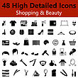 Set Of High Detailed Shopping And Beauty Smooth Icons In Black Colors. Suitable For All Kind Of Design (Web Page, Interface, Advertising, Polygraph And Other). Vector Illustration