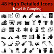 Set Of High Detailed Travel And Camping Smooth Icons In Black Colors. Suitable For All Kind Of Design (Web Page, Interface, Advertising, Polygraph And Other). Vector Illustration