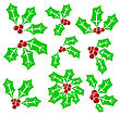 Set Of Holly Berry Icons Isolated On White Background