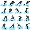 Set Of Ice-skating Athlete Grunge Silhouettes. Fully Editable EPS 10 Vector Illustration