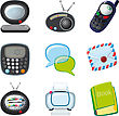 Tv Set Of Icons For The Home And Office With Rounded Edges stock image