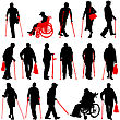 Set Ilhouette Of Disabled People On A White Background. Vector Illustration stock illustration