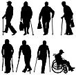 Disability Set Ilhouette Of Disabled People On A White Background. Vector Illustration stock vector