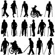 Set Ilhouette Of Disabled People On A White Background. Vector Illustration
