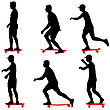 Set Ilhouettes A Skateboarder Performs Jumpingon A White Background stock illustration
