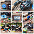 Set Of Images Of Fishing And Accessories stock photo