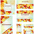 Set Of Invitation Cards In Different Size And Formats. Elegant Autumn Design With Maple And Oak Leaves And Acorns Over Sky Background With Beams Of Sun. Vector Illustration