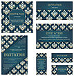 Set Of Invitation Cards In Different Size And Formats. Elegant Royal Damask Rococo Style With Text Space. Vector Illustration stock vector