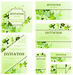 Set Of Invitation Cards In Different Size And Formats. Elegant Spring Design With Flowers, Butterflies And Birds Over Grunge Green Background With Ink Blots. Vector Illustration