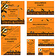 Set Of Invitation Cards In Different Size And Formats. Elegant Halloween Design With Tree, Moon, Witch, Fence, Bat, Cat And Raven Over Orange Background With Copy Space. Vector Illustration