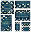 Set Of Invitation Cards In Different Size And Formats. Elegant Royal Damask Rococo Style With Text Space. Vector Illustration