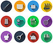 Set Of Kitchen Utensil Icons In Flat Design. EPS 10 Vector Illustration With Transparency
