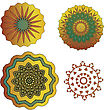 SET OF Lace Color Paisley Floral Colorful Ethnic Ornament Kaleidoscope