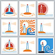 Set Of Lighthouse Icons.Vector Colors Symbols