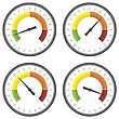 Set Of Manometer Icons On White Background. Different Gauge Readinngs stock illustration
