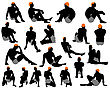 Set Of Men Silhouette. Very Smooth And Detailed With Color Hairstyle. Vector Illustration