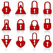 Set Of Metal Locks Of Different Shapes On A White Background.