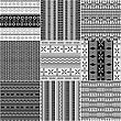 Set Of Monochrome Geometric Seamless Patterns With Tribal Motif