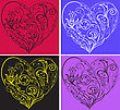 Set Of Multi-colored Filigree Hearts On Colorful Backgrounds stock illustration