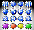 Set Of Multicolored Glasses Round Buttons With Digits-symbols In Metallic Frame.