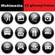 Set Of Multimedia Glossy Icons. EPS 10 Vector Illustration