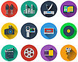 Set Of Multimedia Icons In Flat Design