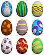 Set Of Nine Painted Easter Eggs. Vector Illustration