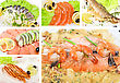 Set Of Different Tasty Fish Dish stock photo