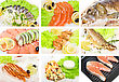 Prawn Set Of Different Tasty Fish Dish stock photo