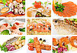 Set Of Different Tasty Fish Dish stock image