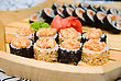 Set Of Sushi On Wood Plate
