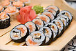 Set Of Sushi On Wood Plate stock photography
