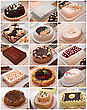 Set of various cakes stock photography