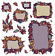Set Of Ornamental Frames. Background Of Crumpled Paper