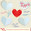 Set Of Paper Hearts. Elements For Valentine`s Day Design