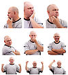 Set Of Portrait Images Of Middle Aged Man stock image
