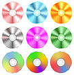 Set Of Realistic Colorful Compact Discs Isolated On White Background stock illustration
