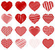 Set Of Red Hearts Isolated On White Background