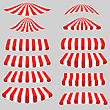 Set Of Red White Tents On Grey Background. Striped Awnings