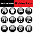 Set Of Restaurant Glossy Icons. EPS 10 Vector Illustration