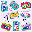 Set Of Retro Cassette Tapes. Vector Illustration